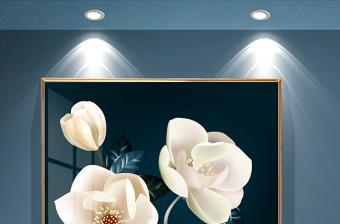 原创原创手绘现代简约金色花卉轻奢玄关装饰画-版权可商用