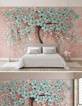 原创新款简约一棵树北欧花朵3d立体电视背景墙-版权可商用