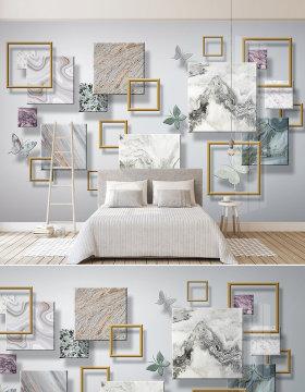 原创现代简约立体爵士白石纹蝴蝶几何电视背景墙壁画-版权可商用