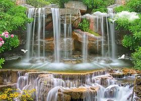 原创高清自然风光瀑布3D风景画客厅电视背景墙-版权可商用