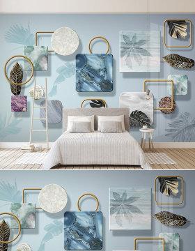 原创北欧现代简约热带植物立体几何金色叶子电视背景墙壁画-版权可商用