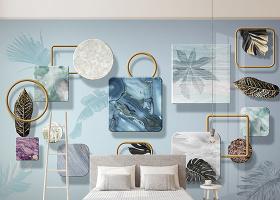 原創北歐現代簡約熱帶植物立體幾何金色葉子電視背景墻壁畫-版權可商用