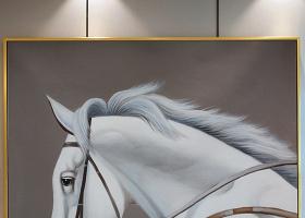 原创超高巨幅画质奔驰白马油画艺术玄关
