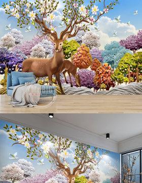 原创北欧3D浮雕梦幻森林鹿沙发电视背景墙壁画-版权可商用