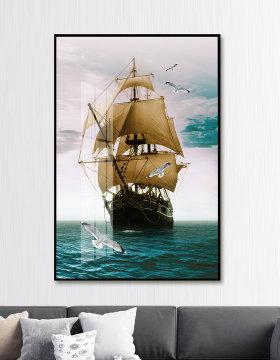原创欧式手绘油画一帆风顺大海帆船飞鸟玄关装饰画-版权可商用