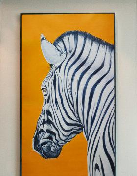 原创纯手绘条纹斑马油画艺术玄关-版权可商用