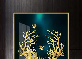 原創現代時尚手繪浪輕奢金色發財鹿抽象線條鉑金背景玄關-版權可商用