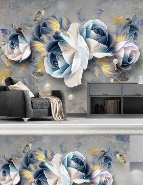 原创3D立体浮雕玫瑰欧式复古电视背景墙装饰画-版权可商用