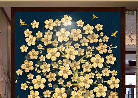原创新中式抽象黄金树玄关背景墙-版权可商用