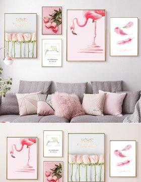 原创现代简约粉色玫瑰花卉小清新北欧组合装饰画-版权可商用