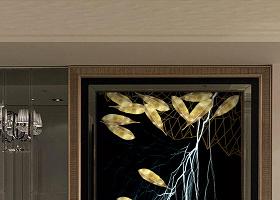 原创现代简约轻奢创意金色金色羽毛晶瓷玄关-版权可商用