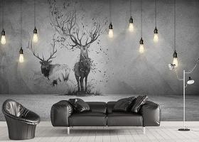 原创北欧3D立体吊灯麋鹿背景墙装饰画-版权可商用