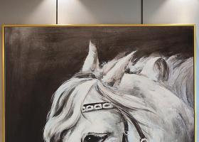 原创纯手绘白色战马油画艺术玄关-版权可商用