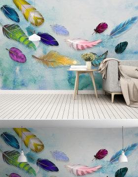 原创美式简约时尚彩色手绘羽毛纹理艺术背景墙-版权可商用