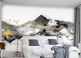 原创飞鸟新中式抽象金色水墨山水电视背景墙-版权可商用