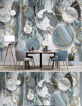 原创北欧现代简约水墨石纹立体几何3d电视背景墙壁画-版权可商用