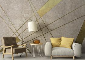 原创北欧简约个性复古几何金色电视背景墙-版权可商用