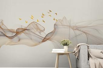 原创新中式抽象水墨山水装饰画电视背景墙-版权可商用