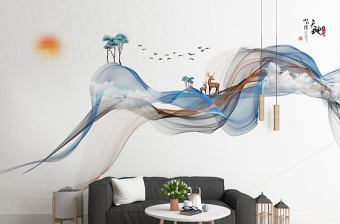 原创新中式手绘抽象线条水墨山水麋鹿背景墙-版权可商用