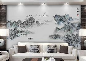 原创新中式意境抽象水墨山水客厅背景墙壁画-版权可商用