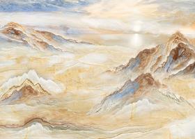 大气高档瀑布山水大理石石纹背景图片