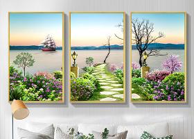 原创现代时尚简约山水画意境风景客厅装饰画-版权可商用