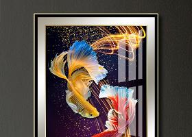 原创现代简约抽象轻奢斗鱼线条新中式装饰画晶瓷画-版权可商用