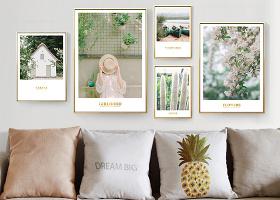 原创现代简约北欧ins绿色小清新风景组合照片墙装饰画-版权可商用