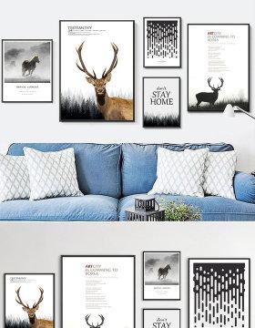 原创北欧简约黑白麋鹿风景组合装饰画-版权可商用