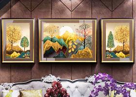 原创欧式复古手绘抽象油画山水金色发财树客厅装饰画-版权可商用