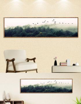 原创森林雾松飞鸟装饰画无框画床头画-版权可商用