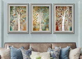 原创抽象油画复古欧式发财树美式客厅装饰画-版权可商用