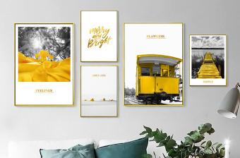 原创北欧ins黑白黄色小清新风景摩登城市组合照片墙装饰画-版权可商用