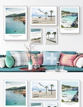 原创北欧装饰画简约大海风景装饰画蓝色组合装饰画-版权可商用