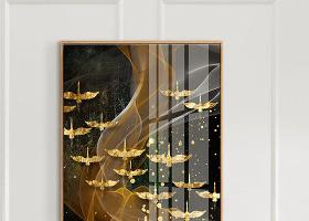 原创现代简约北欧抽象线条意境飞鸟3D晶瓷画装饰画-版权可商用