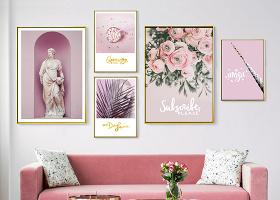 原創北歐ins現代簡約小清新粉色雕塑鮮花卉組合照片墻裝飾畫-版權可商用