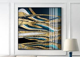 原创抽象轻奢几何动感金箔客厅装饰画晶瓷画-版权可商用