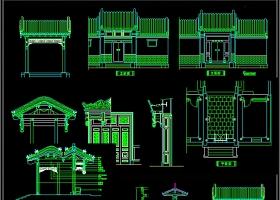 CAD中式門頭雕花屏風隔斷中式牌
