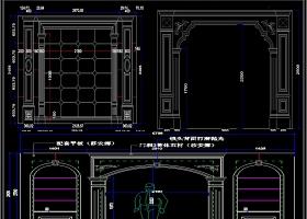 大理石背景墙罗马柱素材CAD图库