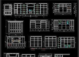 原创全屋定制酒柜书柜鞋柜衣柜CAD图库