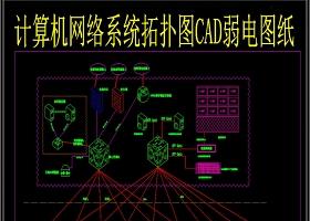 计算机网络系统拓扑图CAD弱电图纸