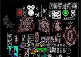 原创花动物卡通地面拼花CAD素材
