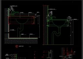 CAD卫生间洗手台洗手盆剖面图立面图