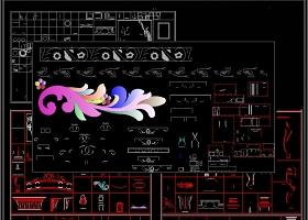 花鸟雕花雕刻装饰图案CAD图库