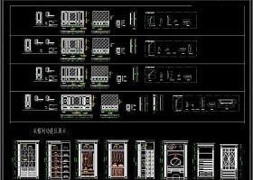原创欧式实木橱柜门板线条CAD图库
