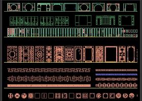 原创2019中式经典风格雕花花格屏风隔断CAD图库