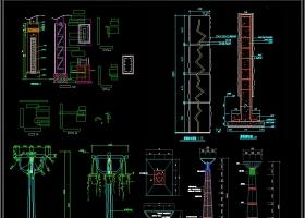 园林景观灯柱灯具石柱CAD图纸