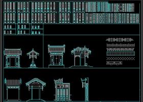 原创中式古建筑牌坊屏风CAD图库
