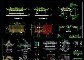 齐全的古建筑亭子CAD景观施工图