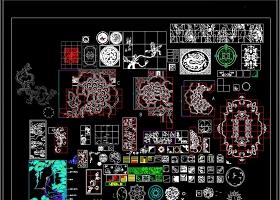 工装常用卡通图案CAD地面拼花图库